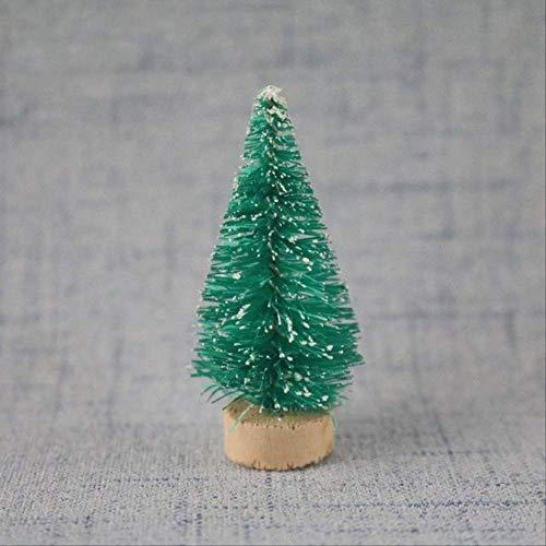 WARRT Arbol de Navidad Mini Navidad Fiesta Decoración Ornamentos DIY Árbol De Navidad Nieve Escarcha Pequeño Pino Árbol Fibra Artesanía Verde