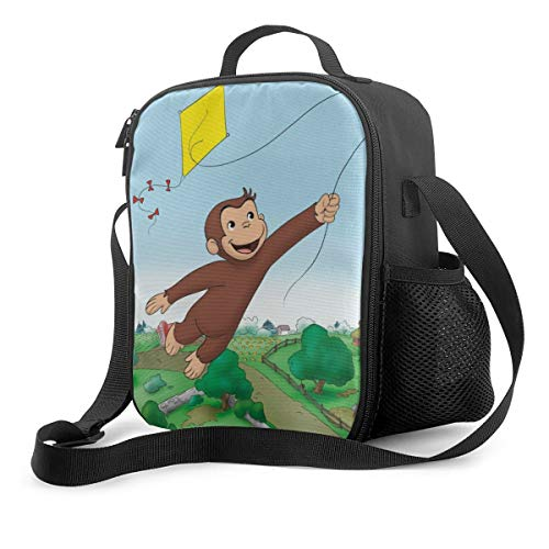 Qushy Curious George 4 Lunch Bag Cooler Bag Lunch Box Soft Liner Lunch Bags for Fishing