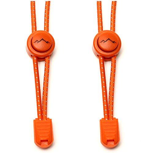 gipfelsport Elastische Schnürsenkel mit Schnellverschluss - Gummi Schnellschnürsystem ohne Binden | Schnürsystem für Kinder, Herren, Damen I 1x Paar: orange