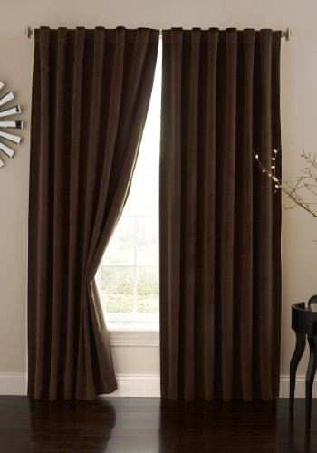"""ECLIPSE Bradley Thermal Insulated Single Panel Rod Pocket Darkening Curtains for Living Room, 50"""" x 84"""", Chocolate"""