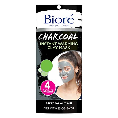 Bioré Charcoal Instantly Warming Clay Facial Mask for Oily Skin, with Natural Charcoal, Cleanse Clogged Pores, 4 Count, Dermatologist Tested, Non-Comedogenic, Oil Free