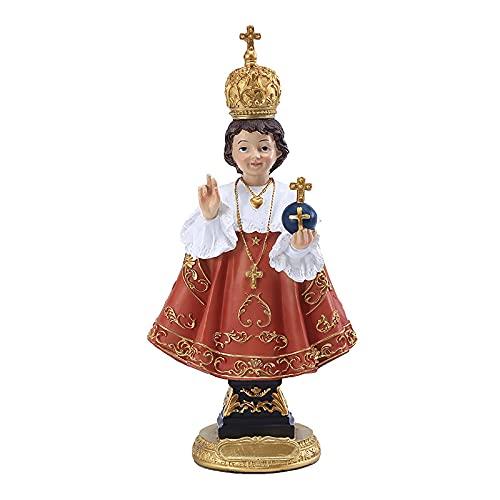 Infant of Prague Statue Resin Holy Jesus Figurine with Cross Royal Red Robe Catholic Saint Christian Decoration 11.8'