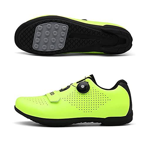 WYUKN Zapatillas de ciclismo antideslizantes, sin bloqueo para bicicleta de carretera y montaña, para hombres y mujeres, suela de goma, verde-37EU