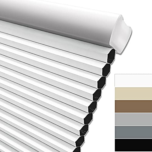 Keego Blackout Cordless Window Shades Blinds for Windows-Custom Cut to Size Window Blinds & Shades for Home Kitchen Bedroom Office (White 100% Blackout, Any Size)