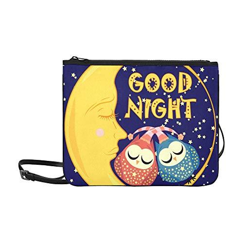 WYYWCY Gute Nacht Postkarte dösen Crescent zwei benutzerdefinierte hochwertige Nylon dünne Clutch Crossbody Tasche Umhängetasche