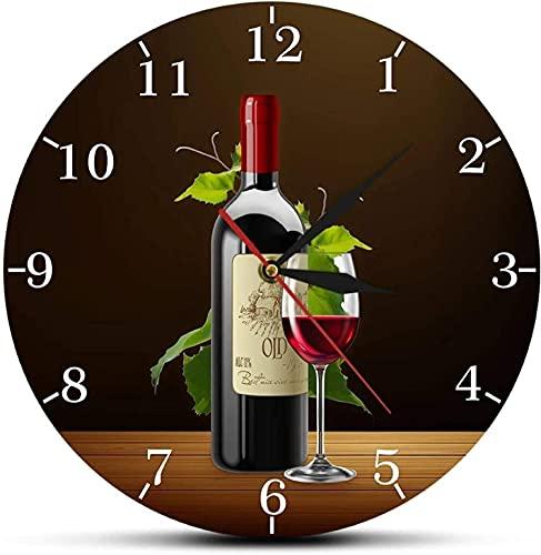 Reloj de Pared Vino Tinto y Blanco Bodega Señal de borrachera Cocina Moderna Reloj de Pared Botellas y Copas de Vino con Uvas Bar en casa Taberna Reloj de Pared Oficina en casa Decoración ext