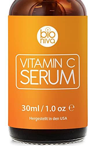 Bioniva Vitamin C Serum für Ihr Gesicht mit 20% Vitamin C + Hyaluronsäure + Vitamin E + Jojobaöl. Natürliche AntiAging + Anti Falten + Bio Kollagen Booster Gesichtsserum mit...