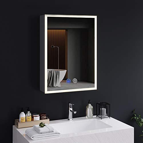 Spiegelschrank Bad mit LED-Beleuchtung und Steckdose 72x13.5x50cm 3 Farbtemperatur dimmbare mit Touch-Schalter Defogging-Funktion badspiegel Britische Stecker mit Europäische Konverter