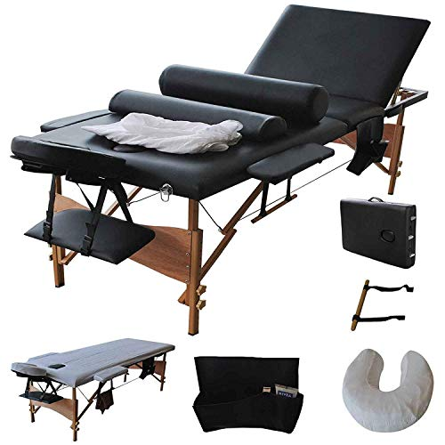 "Giantex Portable Massage Table Facial Bed 3 Fold Section, 32"" Wide Arms for Salon Beauty Physiotherapy Facial SPA Tattoo Household, 84""L Adjustable Spa Bed Table w/Sheet+Cradle Cover+2 Bolster, Black"