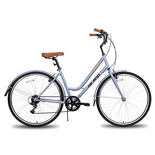 Hiland 700C Hybrid Bike for Women Shimano 7speeds Retro-Styled Cruiser Bicycle 46cm