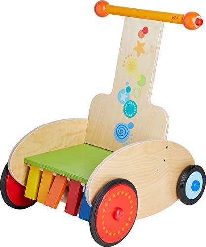 HABA 304793 - Lauflernwagen Klackerflitzer, mit justierbarer Bremse für sicheres Laufenlernen, inklusive Transportsitz, Quietsche und Klappereffekt, Babyspielzeug ab 10 Monaten