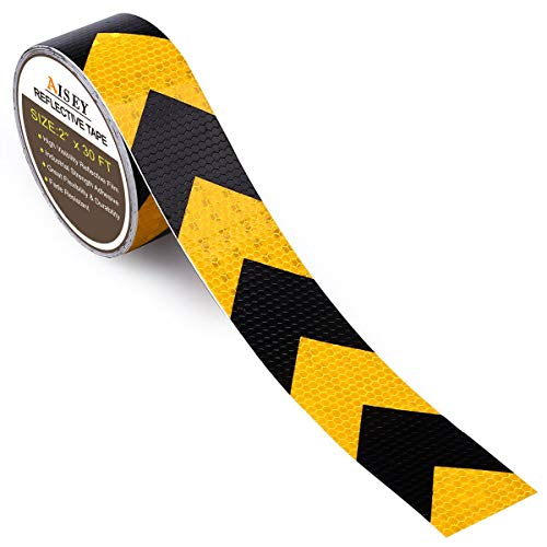 2' X 30ft Reflective Safety Hazard Warning Tape Waterproof Yellow Black - High Intensity Reflector Tape for Outdoor Steps