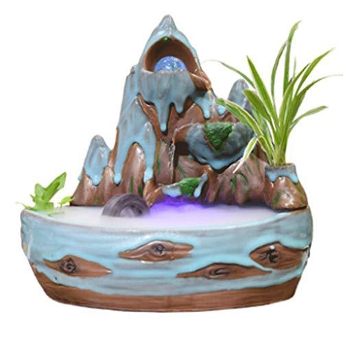 Fuentes de interior Fuente de la tableta de counderia de cerámica, la característica de la cascada interior de la meditación ZEN con la luz LED para la relajación del dormitorio en el hogar fuentes de