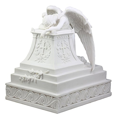 Ebros Inspirational Guardian Mourning Angel Decorative Cremation Urn Figurine 12.75' Tall 320 Cubic Inches Capacity Bottom Load Feature As Memorial Sculpture Heavenly Decor Angelic Being Figurine