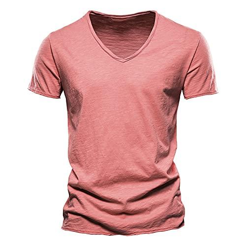 Camiseta Hombre Verano Simplicidad Moda Color Sólido Hombre Casuales Camisa Moderno Cuello V Ajuste Regular Manga Corta Casual Cómodo All-Match Deportiva Camisa J-Red XL