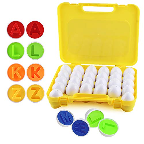 ABC Colorful Matching Egg Toy - Alphabet & Color Recognition Learning Toy for Toddlers - Preschool Game - Montessori Education - Easter Eggs