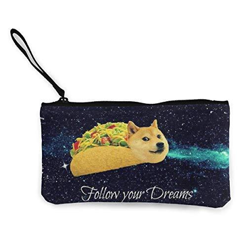 BHGYT Doge in Taco Frauen 'und Mädchen' Persönlichkeit Mode Retro kleine Mini quadratische Reißverschluss Münze Brieftasche, Tasche mit Handgelenkriemen Make-up Tasche Handy Bankkarte, Geschenk für