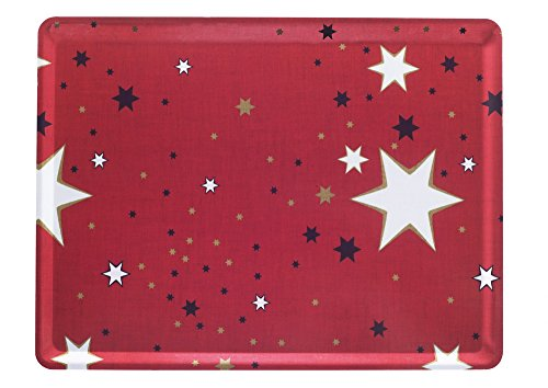 PLATEX 104030229S Plateau en stratifié Moyen Modèle décor Milky, Fond Rouge