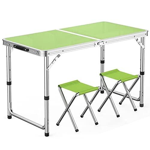 Juego de mesa y silla plegable portátil, combinación de mesa y silla de ajuste de altura de tres niveles, mesa de picnic con 2/4 asientos, mesa cuadrada de aluminio impermeable y resistente al sol,
