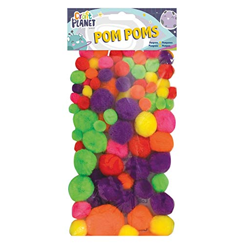 Craft Planet Pompoms Neon, Pack of 100, Multi-Colou