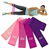 Resistance Exercise Bands, Set of 5 Fitness Bands Perfect for Legs and Butt Yoga Crossfit Strength Training Pilates with Instruction Guide, Carry Bag