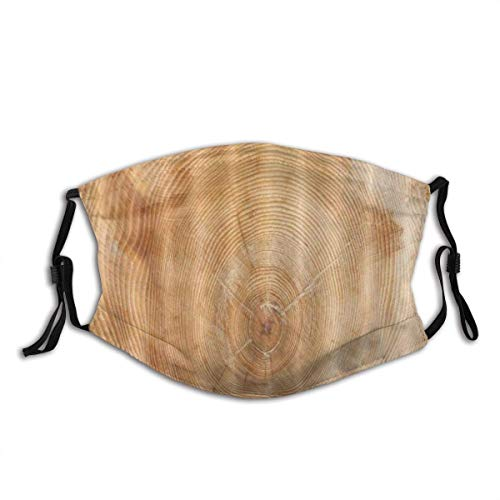 Stump Texture Rustic Wood Ring Annual Bandana Facial Decorations Fa-Ce Co-Ver With Filter Headwear