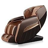 Lzour Reclinador de Silla de Masaje, sillón eléctrico 3D Relax Shiatsu, sillón de shiatsu, reclinable de Gravedad Cero de Cuerpo Completo con Pista SL para la Oficina en casa,Marrón