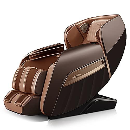 Lzour Sedia da Massaggio reclinabile, Elettrico 3D Professional Relax Poltrona Shiatsu, Poltrona a gravità Zero a Corpo Pieno con Pista SL per la casa,Marrone