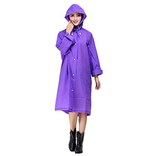 FakeFace BXT - Chaqueta impermeable para mujer, goma EVA, con capucha y mangas, cortavientos, diseño por encima de la rodilla para adulto, Violet- XL