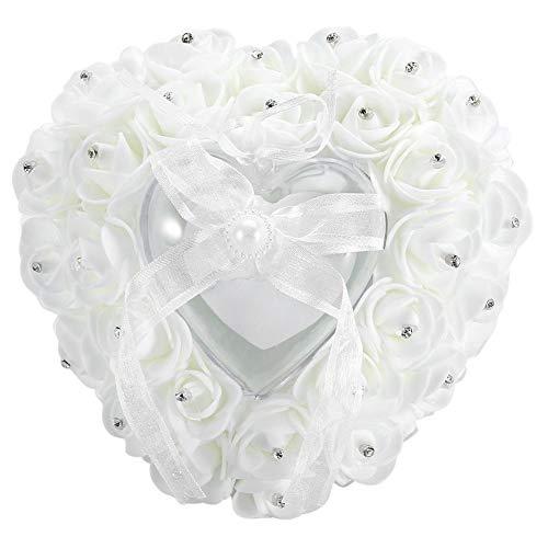 Rockyin Almohadilla para Anillos, Romántica en Forma de corazón del Amortiguador del Anillo de Bodas Caja Rose Cristal Decor Almohadilla del Anillo (Blanco)