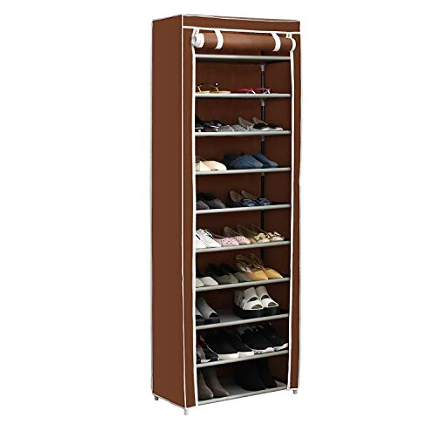Home-Like 10-Tier Shoe Rack with Dustproof Cover 30 Pair Shoe Organizer Shoe Rack Tower Zippered Storage Shoe Cabinet in Black Ideal for Hallway Corridor L24.02''xW12.2''xH67.72'' (Brown) kjpvnz7442200
