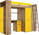 FurnitureByJDM Hochbett mit Schreibtisch, Kleiderschrank und Bücherregal - VERANA R - (Craft Gold/Gelb)