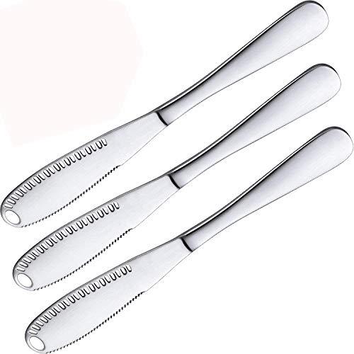 Bayda - Juego de 3 cuchillos de untar para manteca de acero inoxidable, accesorios de cocina 3 en 1, rulo, rastrillo para manteca