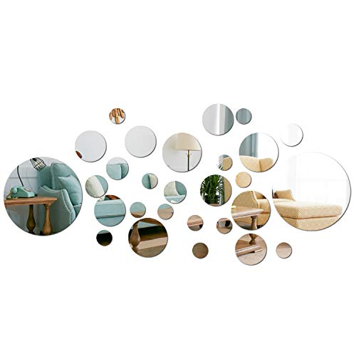 aooyaoo Solid Circle Wall Stickers Circle Mirror DIY Living Room/Bedroom/Decoration 28pcs Silver