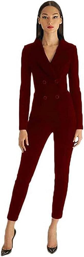 Women's Slim Fit 2 Piece Suits Casual Office Lady Business Suit Set