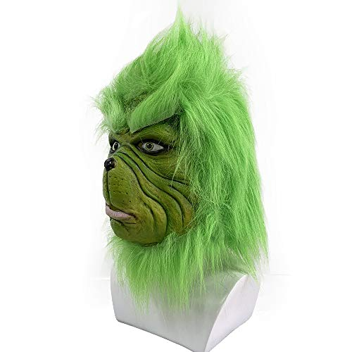 Christmas Mask Deluxe Latex Comedy Movie Halloween Party Props Green (Half face)