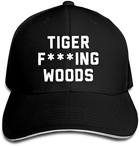 Tiger Fcuking Woods Hip Hop Baseball Cap Golf Trucker Baseball Cap Adjustable Peaked Sandwich Hat Black,Black