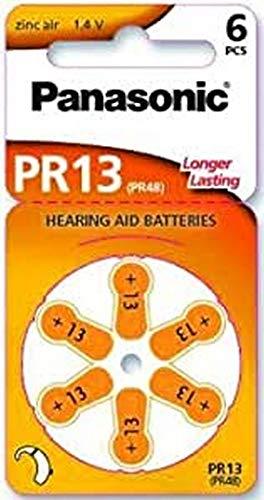 Piles Panasonic PR13 Zinc Air pour appareils auditifs, Type 13, 1,4V, Piles pour appareils auditifs, Paquet de 10 (60 Piles) Orange