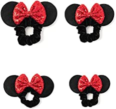 Mickey Ears Minnie Mouse Ears Sequin Scrunchies, 4pcs Sequin Bows Hair Ties, Velvet Ponytail Hair Bands Hair Accessories for Women Girls Adult Kids (red)