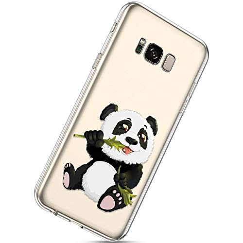 Herbests Kompatibel mit Samsung Galaxy S8 Handyhülle TPU Silikon Dünn Schutzhülle Muster Transparent Durchsichtige Crystal Clear Case Cover Anti-Kratzer Hülle Softcase Tasche,Panda Bambus