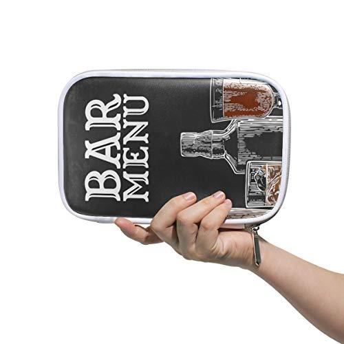 Nette Kosmetiktasche Vorlage Bar Menü Alkohol Alkoholflasche Große Bleistifthülle für Frauen Kinder Bleistifthülle Multifunktionale Schönheit Kosmetiktasche für Männer Frauen