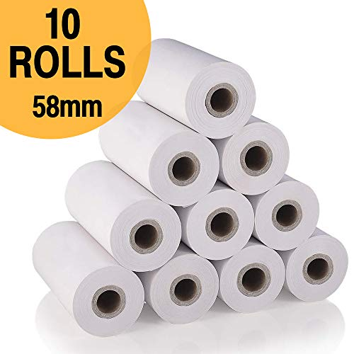 10 Rollos Papel Térmico 58 mm para Impresora, Tamaño 58 mm * 30 mm, Adecuado para Todas Las Impresora Térmica
