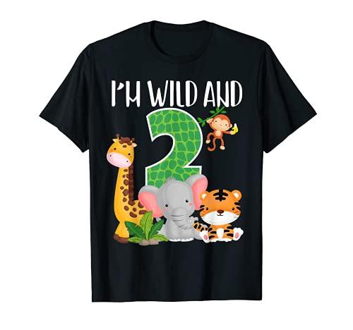 I'm Wild and Two Zoo Theme 2nd Birthday Safari Jungle Animal Maglietta