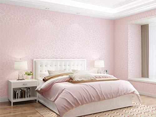 Tapete LotusVliestapete Hell-Pink Modern Klassisch Opulent Schlafzimmer Haus Dekoration Wandkunst Tapeten für Wohnzimmer TV oder Küche 0.53m x 9.5m