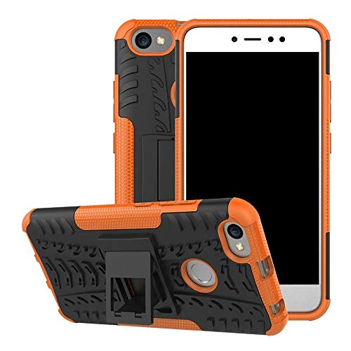 Jtailhne Compatible con Funda Xiaomi Redmi Note 5A, RíGida Tire Pattern Doble Capa HíBrida Armor Kickstand a Prueba De Choques Carcasa Naranja & 2X Cristal Templados