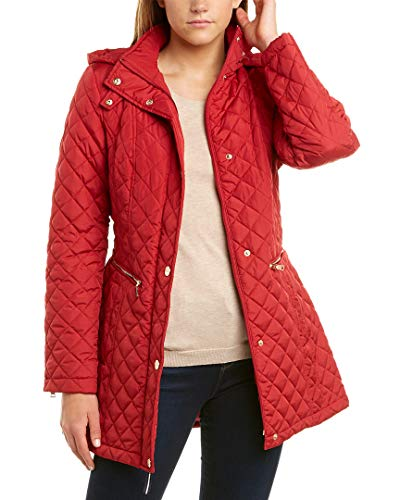 Vince Camuto Womens Quilted Belted Trench V19703 Carmine Red MD (US 8-10)