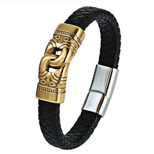 Daesar Armband Edelstahl Leder Männer 22CM Unendlich Infinity Herrenarmband Gold Schwarz Hip Hop Parterarmband