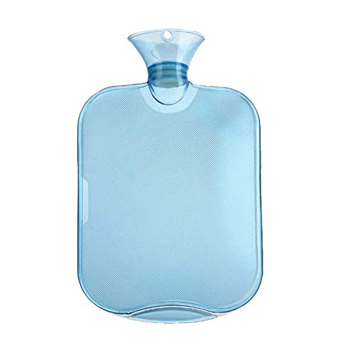 QINGXI Botellas de Agua Caliente con Fundas Tejidas, Premium Rubber para calambres y Alivio del Dolor con 1 Cubiertas de Punto Rápido, Tapa de la Botella de Punto, 2 Lblue