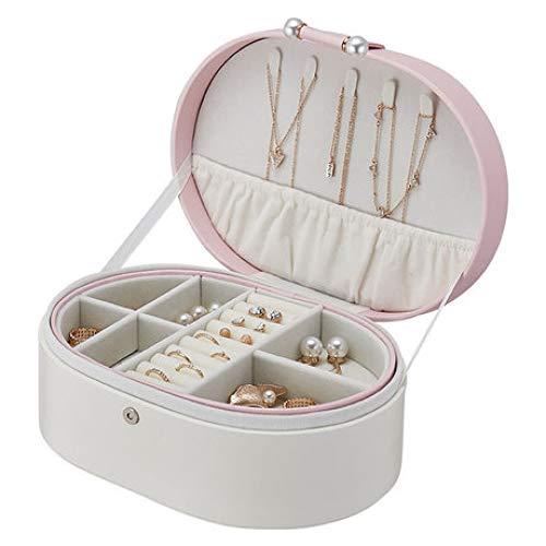 Preisvergleich Produktbild Kosmetiktäschchen Schminktasche Damen Schmuckschatulle Ovale schmuckschatulle hochzeitsgeschenk Make-up Box Damen tragbare Leder aufbewahrungsbox rosa 23X17.5X9.3CM