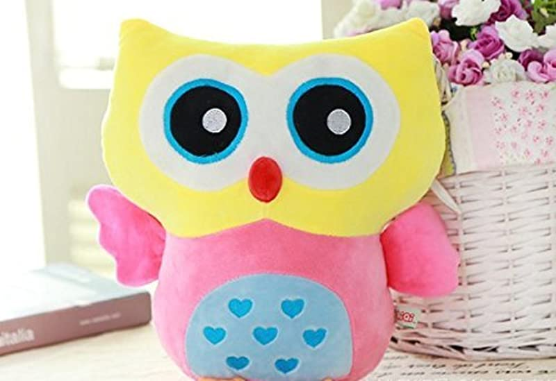 Rainbow Fox Owl Stuffed Toy Plush Doll Lovely Owl Shaped Perfect Decorative Pillow Yellow